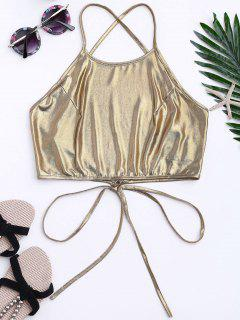 Metallic Halter Backless Tank Top - Golden S