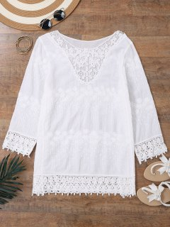 Embroidered Beach Cover Up Dress With Sleeves - White
