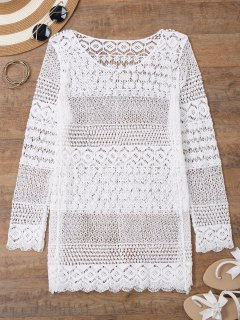 Long Sleeves Crochet Beach Cover Up Dress - White