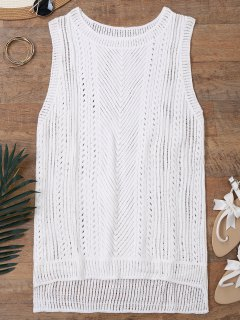 Semi Sheer Crochet Beach Cover Up Tank Top - Blanco