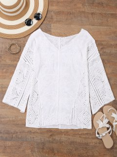 V Cuello Bordado Crochet Beach Cover Up - Blanco