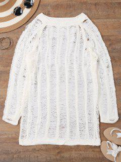 Long Sleeves Sheer Beach Cover Up Dress - White M