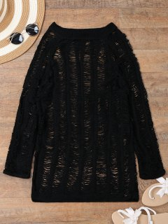 Long Sleeves Sheer Beach Cover Up Dress - Black L