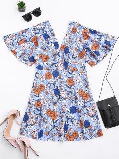 Kimono Sleeve Empire Wasit Mini Robe Florale - Floral S