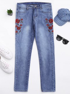 Ripped Floral Embroidered Tapered Jeans - Denim Blue S