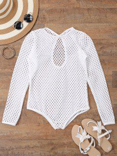 Long Sleeves Sheer Fishnet Swimsuit Cover Up - White S