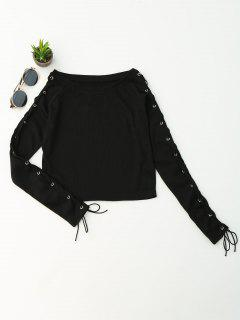 Split Sleeve Lace Up Knit Crop Top - Black M