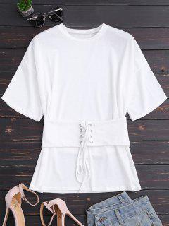 Camiseta De Manga Corta Con Encaje De Corsé - Blanco M