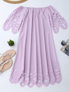 Off The Shoulder Flared Dress - Light Purple M