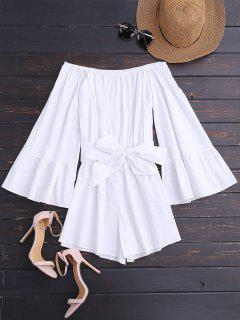 Off Shoulder Flare Sleeve Romper With Belt - White L