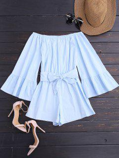Off Shoulder Flare Sleeve Romper With Belt - Light Blue M