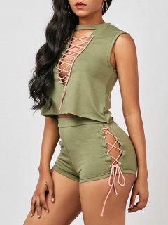 Sleeveless Lace Up Top With Mini Shorts - Army Green M