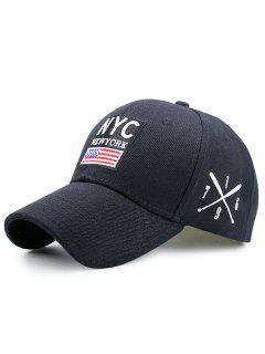 Letters American Flag Pattern Baseball Cap - Black