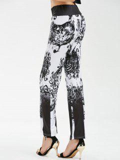 High Waisted Printed Palazzo Pants - Black Xl