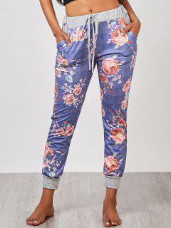 Floral Jogger Pants - Blue M