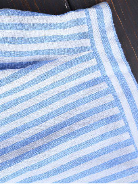 women's Slit Sleeve Off Shoulder Striped Top - BLUE STRIPE XL Mobile