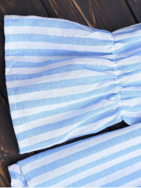 Tie Front Off Shoulder Striped Top - Bande Bleu XL Mobile