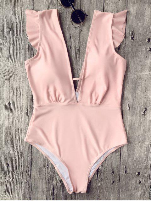 new Ruffles Plunging Neck One Piece Swimsuit - PINK M Mobile