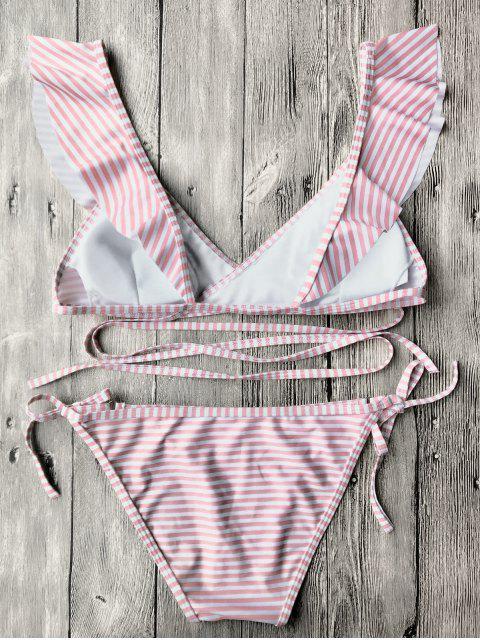 Ensemble de bikini à ruban à bandoulière rayé - ROSE PÂLE S Mobile