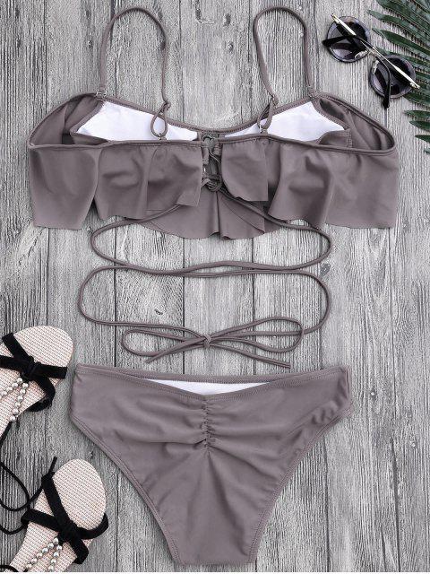 latest Lacing Ruffle Off The Shoulder Bikini Set - TAUPE S Mobile