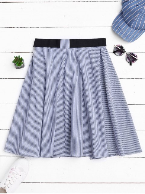 sale Belted Wrap Layered A-Line Skirt - STRIPE M Mobile