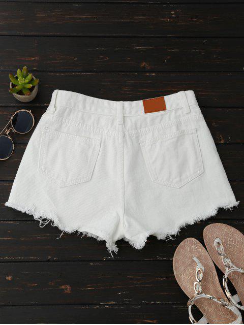 Shorts en denim floral à broderie ourlet brut - Blanc XL Mobile