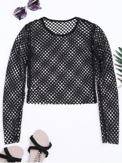 women Sheer Net Crop Top - BLACK M Mobile