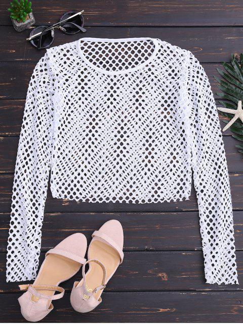ladies Sheer Net Crop Top - WHITE S Mobile