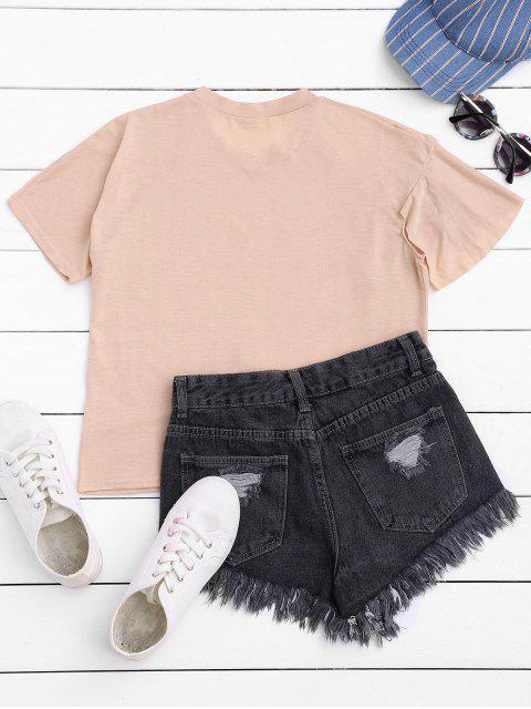 lady Short Sleeve Ruffle T-Shirt - LIGHT PINK S Mobile