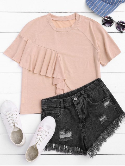 best Short Sleeve Ruffle T-Shirt - LIGHT PINK M Mobile