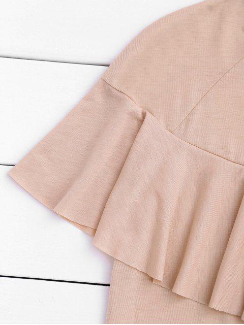 T-shirt à volants à manches courtes - Rose Clair M Mobile