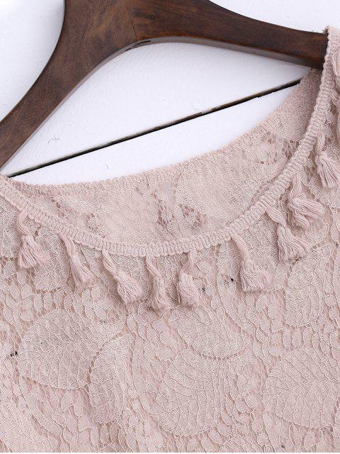 outfits Sheer Lace Top With Tassel - LIGHT PINK L Mobile