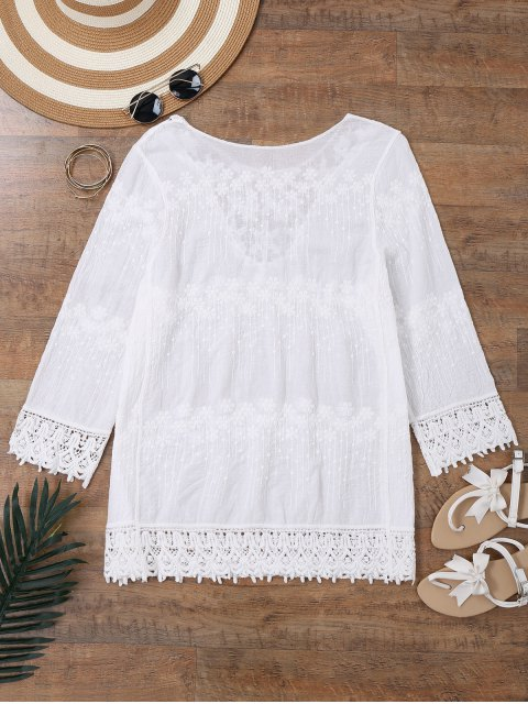 hot Embroidered Beach Cover Up Dress With Sleeves - WHITE ONE SIZE Mobile