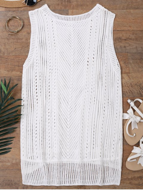 outfits Semi Sheer Crochet Beach Cover Up Tank Top - WHITE ONE SIZE Mobile