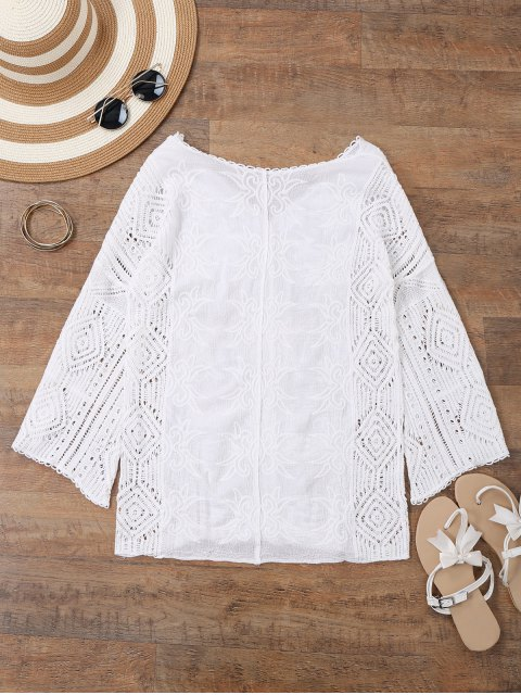 V Neck Neck Broches Beach Cover Up - Blanc TAILLE MOYENNE Mobile