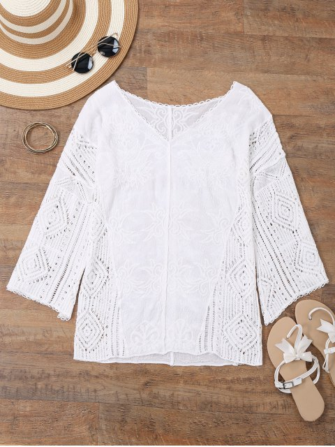 V cuello bordado Crochet Beach Cover Up - Blanco Única Talla Mobile