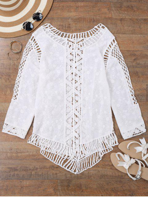 trendy See-Thru Crochet Panel Beach Cover Up Top - WHITE ONE SIZE Mobile