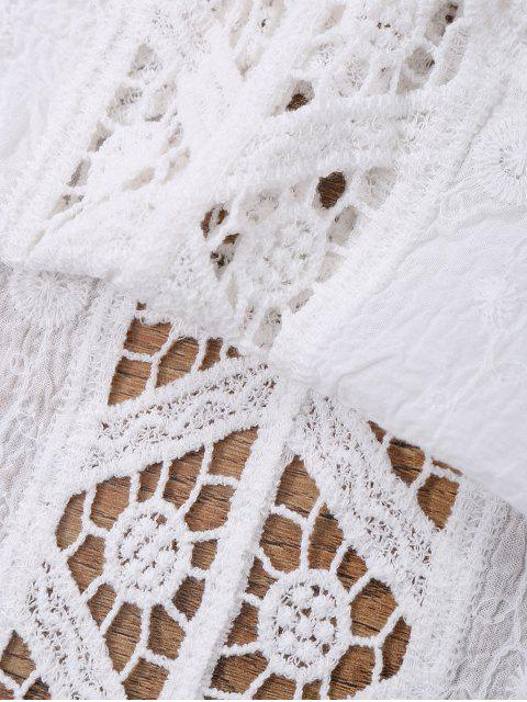 Voir-Thru Crochet Panel Beach Cover Up Top - Blanc TAILLE MOYENNE Mobile