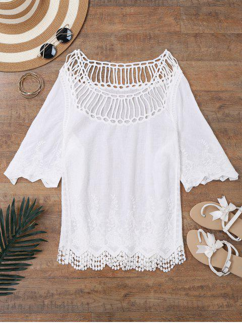 Crochet Yoke Beach Cover Up Top - Blanc Taille Unique Mobile
