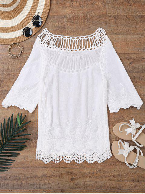 Crochet Yoke Beach Cover Up Top - Blanc TAILLE MOYENNE Mobile