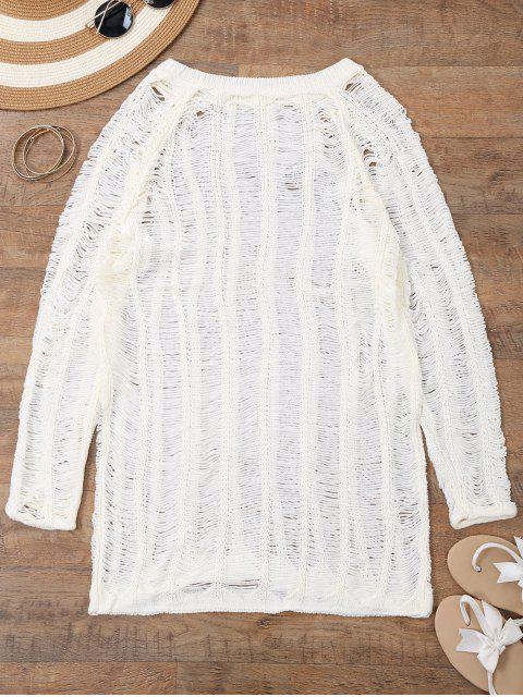 chic Long Sleeves Sheer Beach Cover Up Dress - WHITE XL Mobile