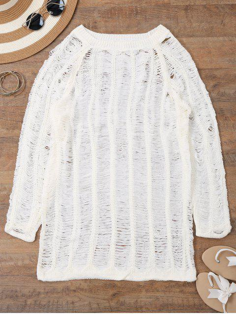 unique Long Sleeves Sheer Beach Cover Up Dress - WHITE M Mobile
