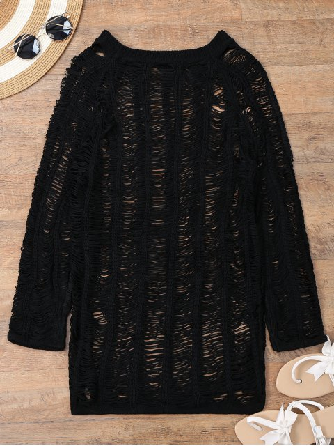 buy Long Sleeves Sheer Beach Cover Up Dress - BLACK L Mobile