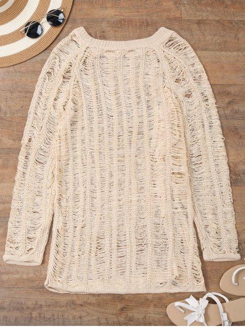 women's Long Sleeves Sheer Beach Cover Up Dress - BEIGE XL Mobile