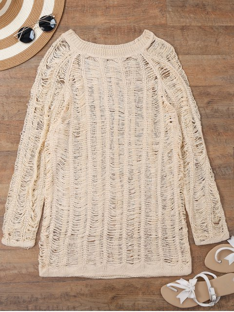 lady Long Sleeves Sheer Beach Cover Up Dress - BEIGE M Mobile