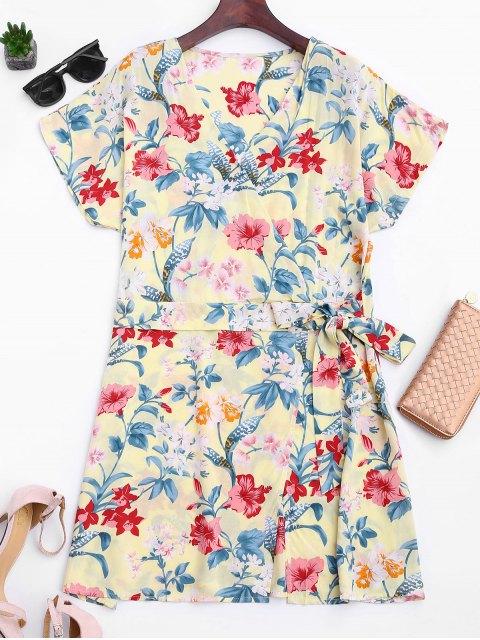 outfits Side Tied Floral Surplice Mini Dress - FLORAL L Mobile