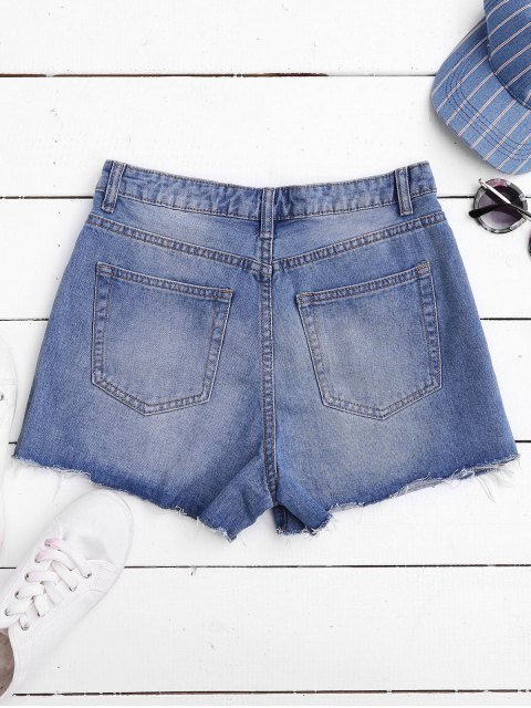 Shorts en denim déchiré avec coupure - Denim Bleu XL Mobile