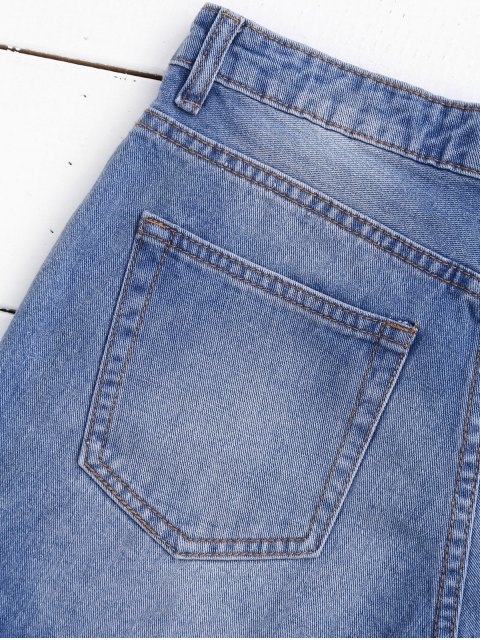 Shorts en denim déchiré avec coupure - Denim Bleu L Mobile
