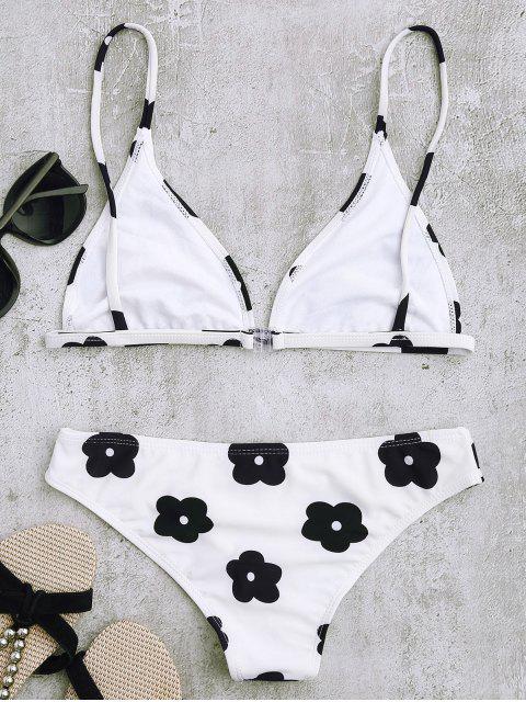 shop Low Waisted Floral Print Bikini Set - WHITE S Mobile