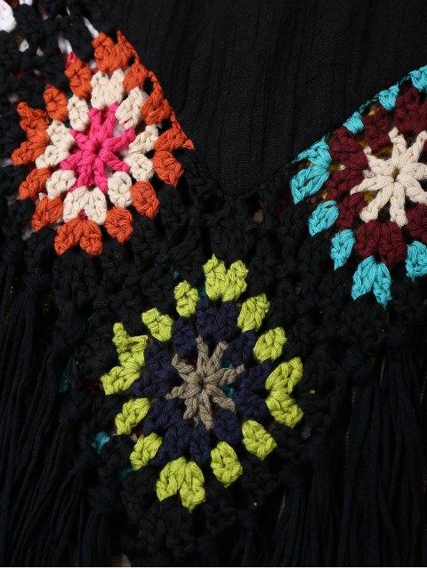 Cover up de plage frangé en crochet à style de débardeur - Noir TAILLE MOYENNE Mobile